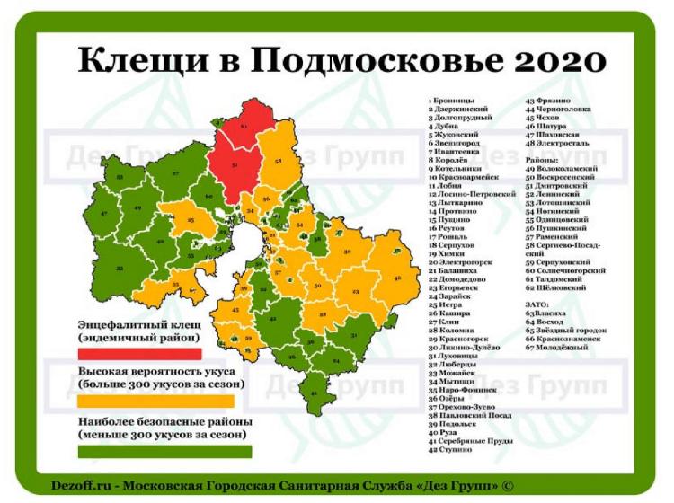 карта клещей Московская область, 2020