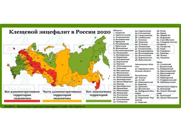 энцефалитный клещ: карта распространения, Россия 2020